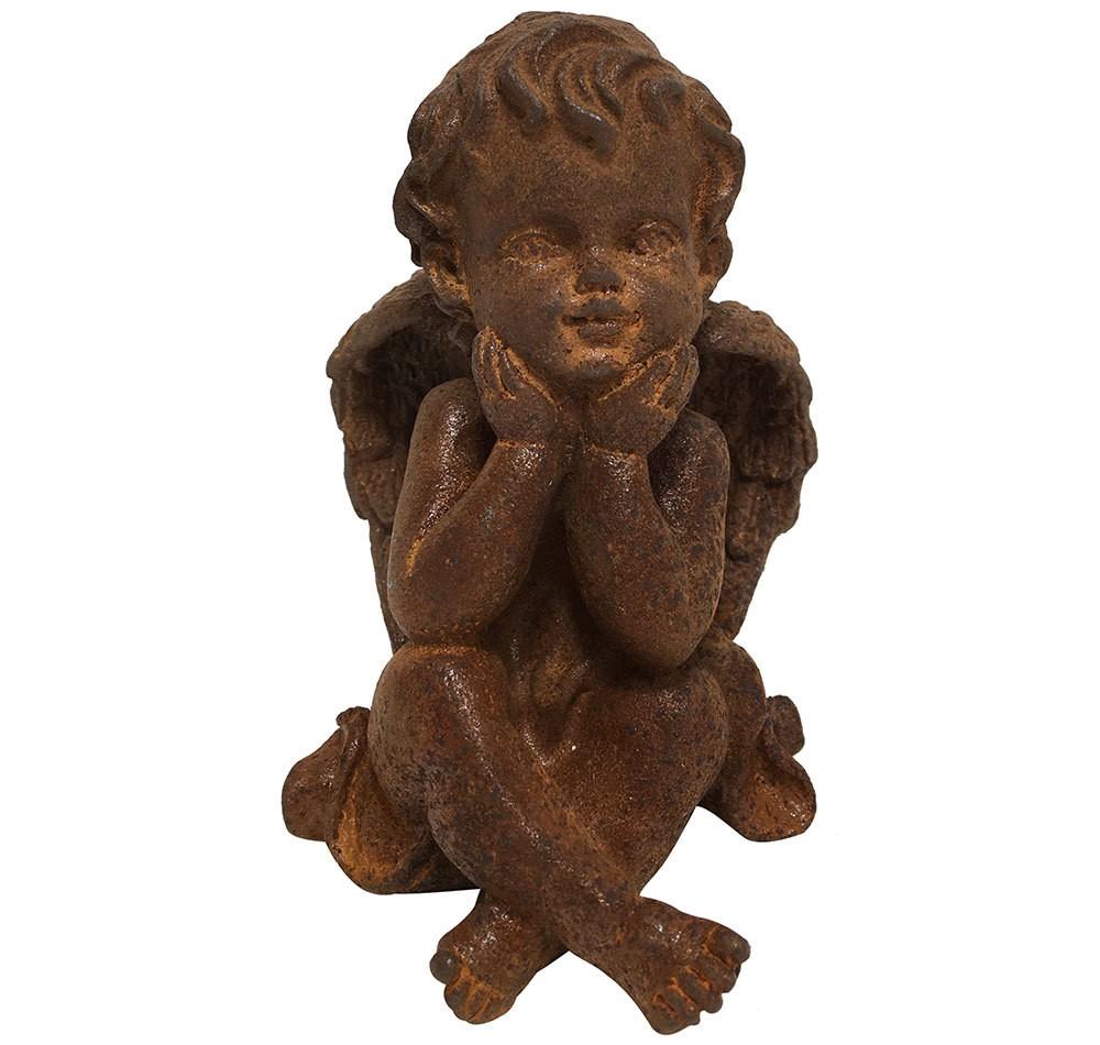 Engelfigur Putte Gusseisen Rost Engel Statue sitzend Antik-Stil 11cm