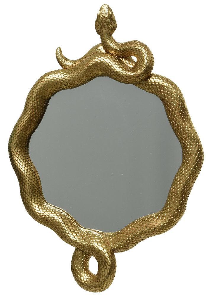 Wandspiegel Schlange Gold Spiegel Rund Dekospiegel Exotisch Wandobjekt Ø 20cm