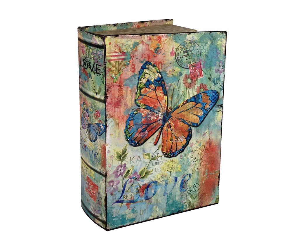 Hohles Buch mit Geheimfach Schmetterling Buchversteck Nostalgie 27cm